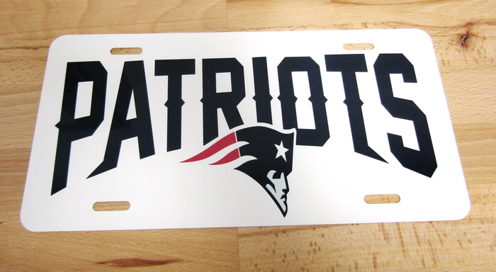 New England Patriots Front License Gloss White Pla