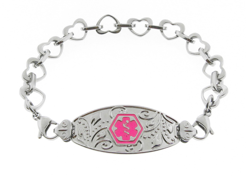 Filigree Medical Alert ID Bracelet Pink Symbol - H