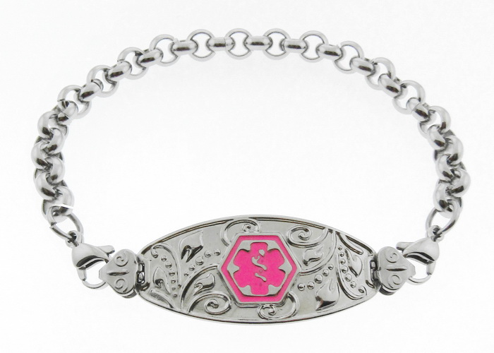 Filigree Medical Alert ID Bracelet Pink Symbol - R