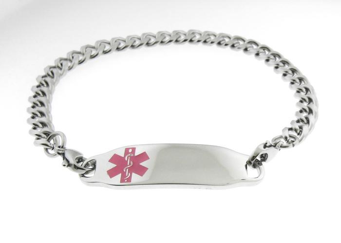 Medical Alert ID Bracelet Pink Symbol Stainless St