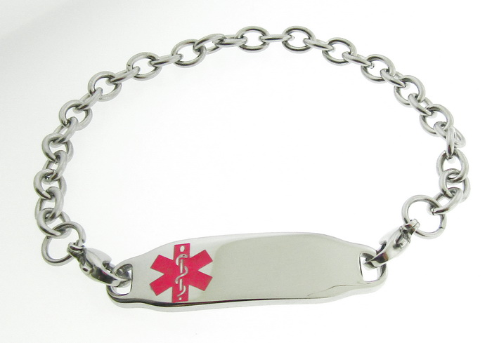 Medical Alert ID Bracelet Pink Symbol Link Stainle