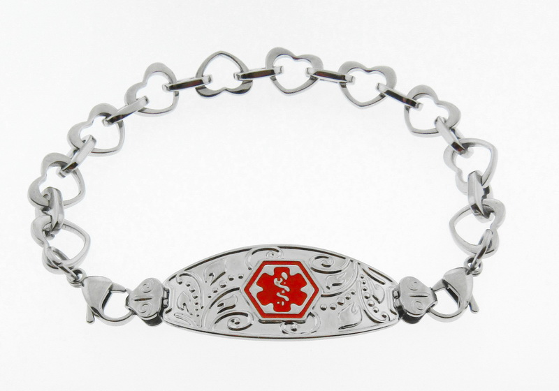 Filigree Medical Alert ID Bracelet Red Symbol - He