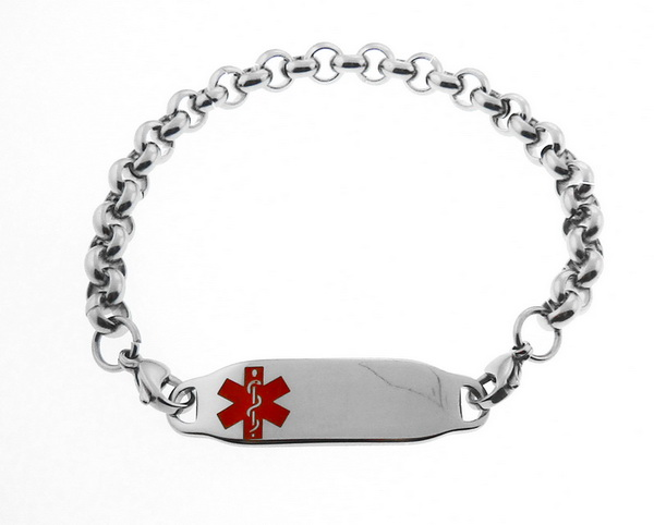 Medical Alert ID Bracelet Red Symbol Rolo Chain St