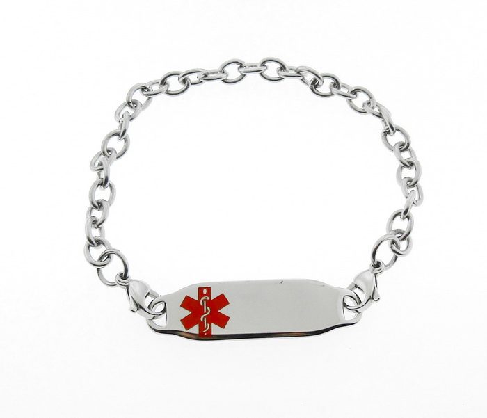 Medical Alert ID Bracelet Red Symbol Stainless Ste