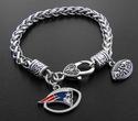 New England Patriots Football Charm Antique Silver