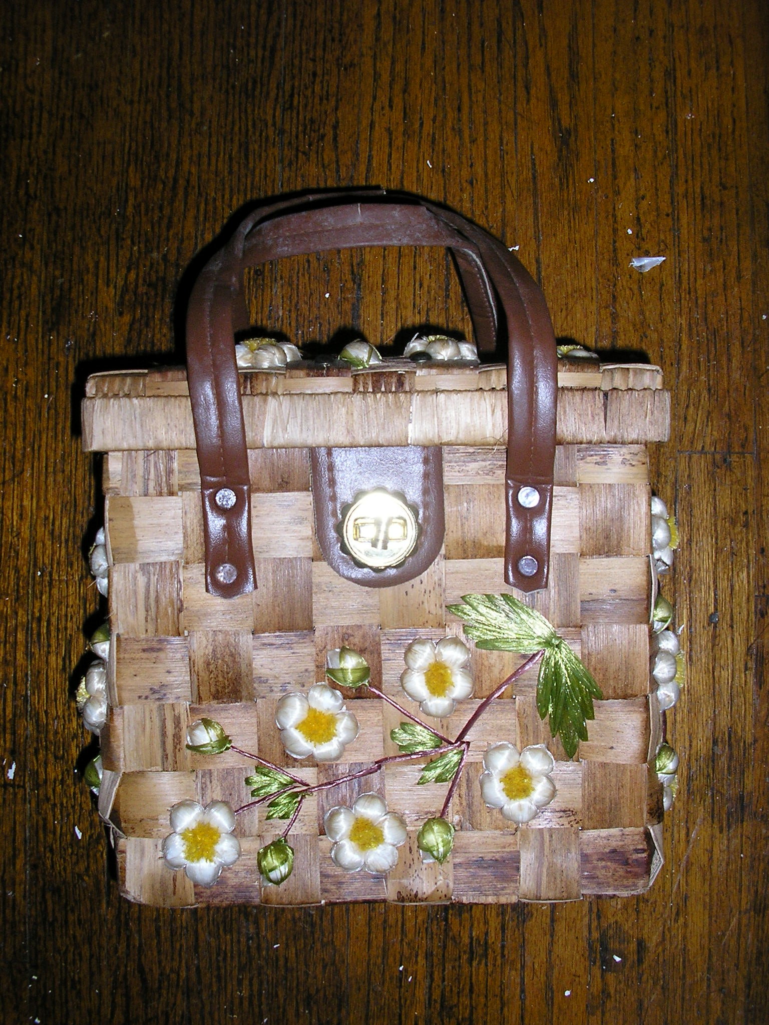 1950s brown picnic woven wood bag purse floral box