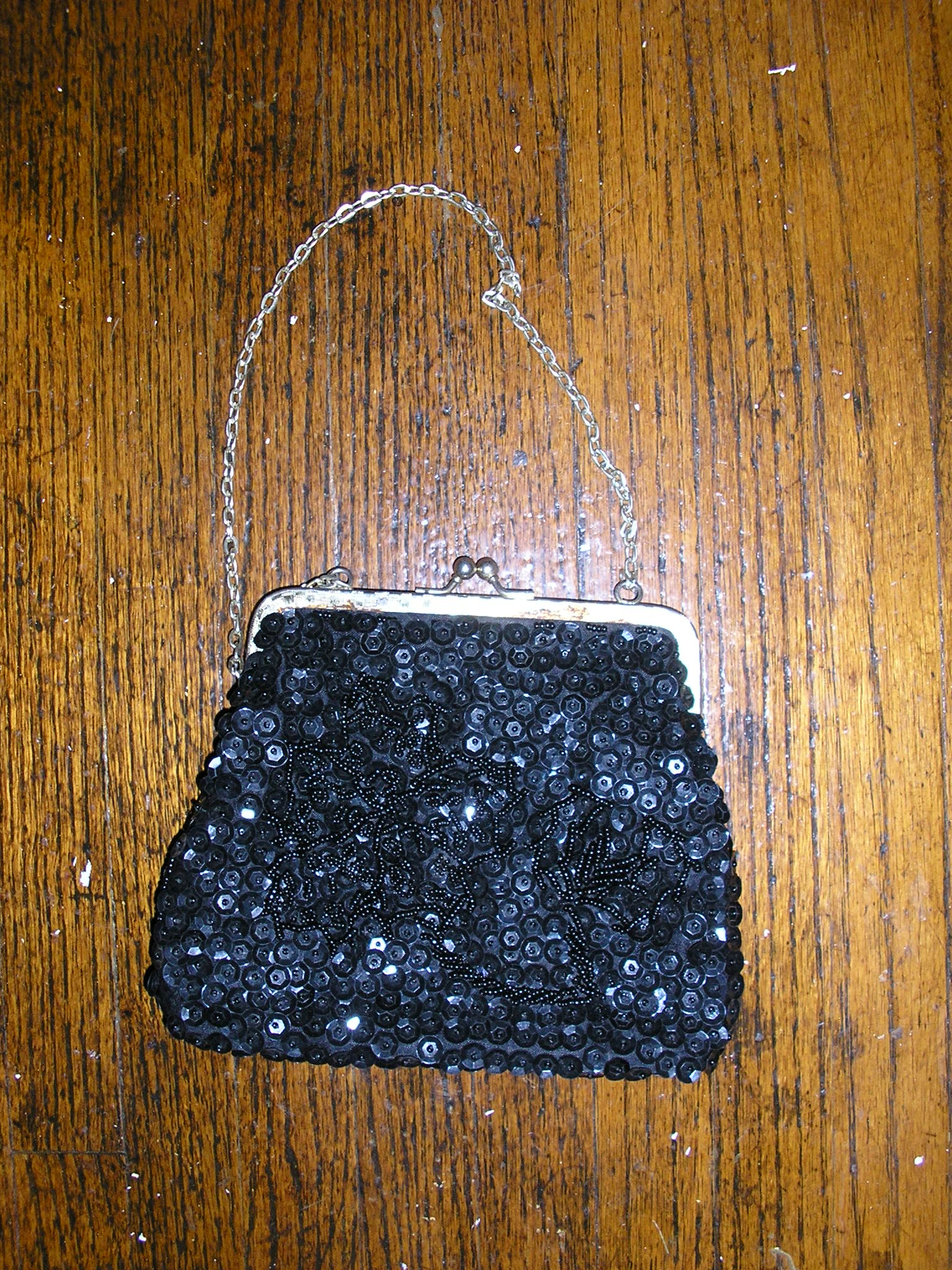 1950s black beaded flapper evening purse beads gol