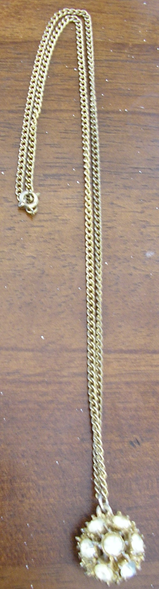 """1970s gold """"Maude"""" necklace with diamond covered d"""