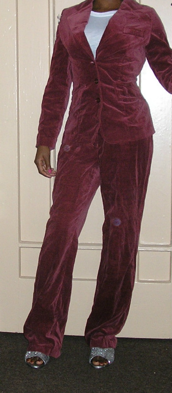 1970s vintage plum wine velvet pants suit + jacket