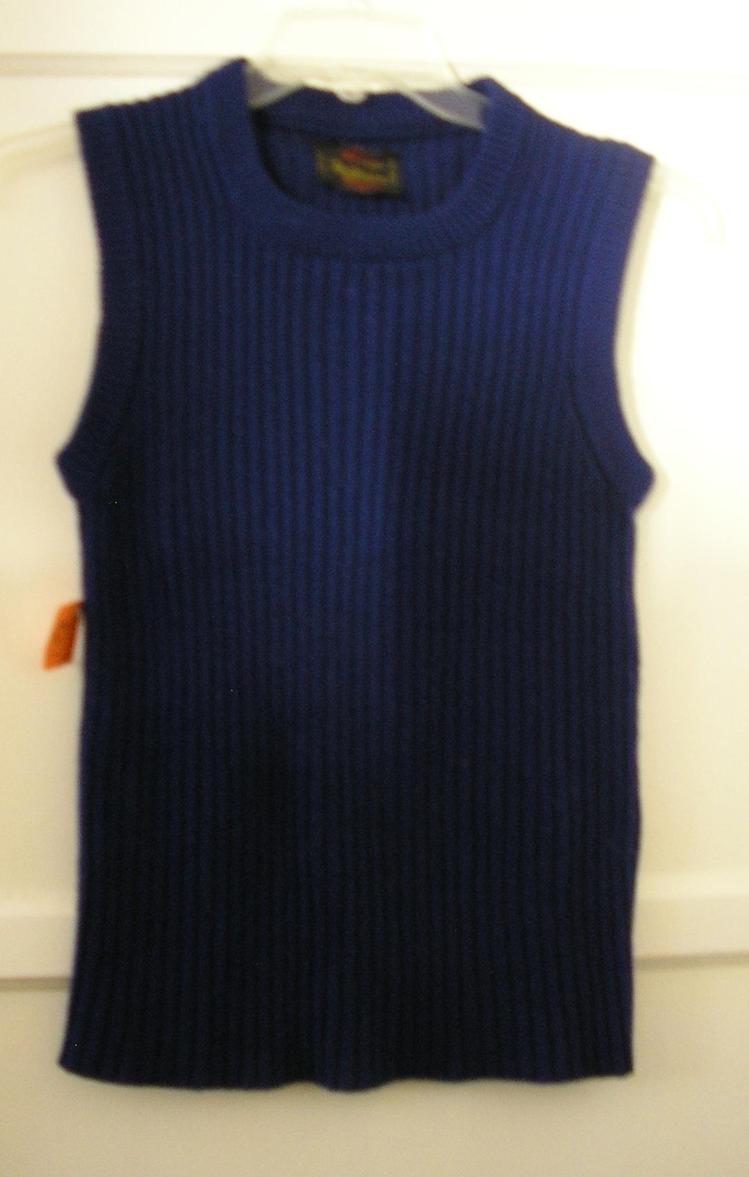 1970s groovy navy blue ribbed sweater vest size sm