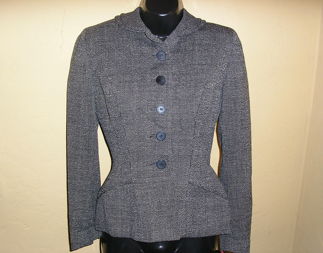 1950s new look black tweed wasp waist jacket sz xx