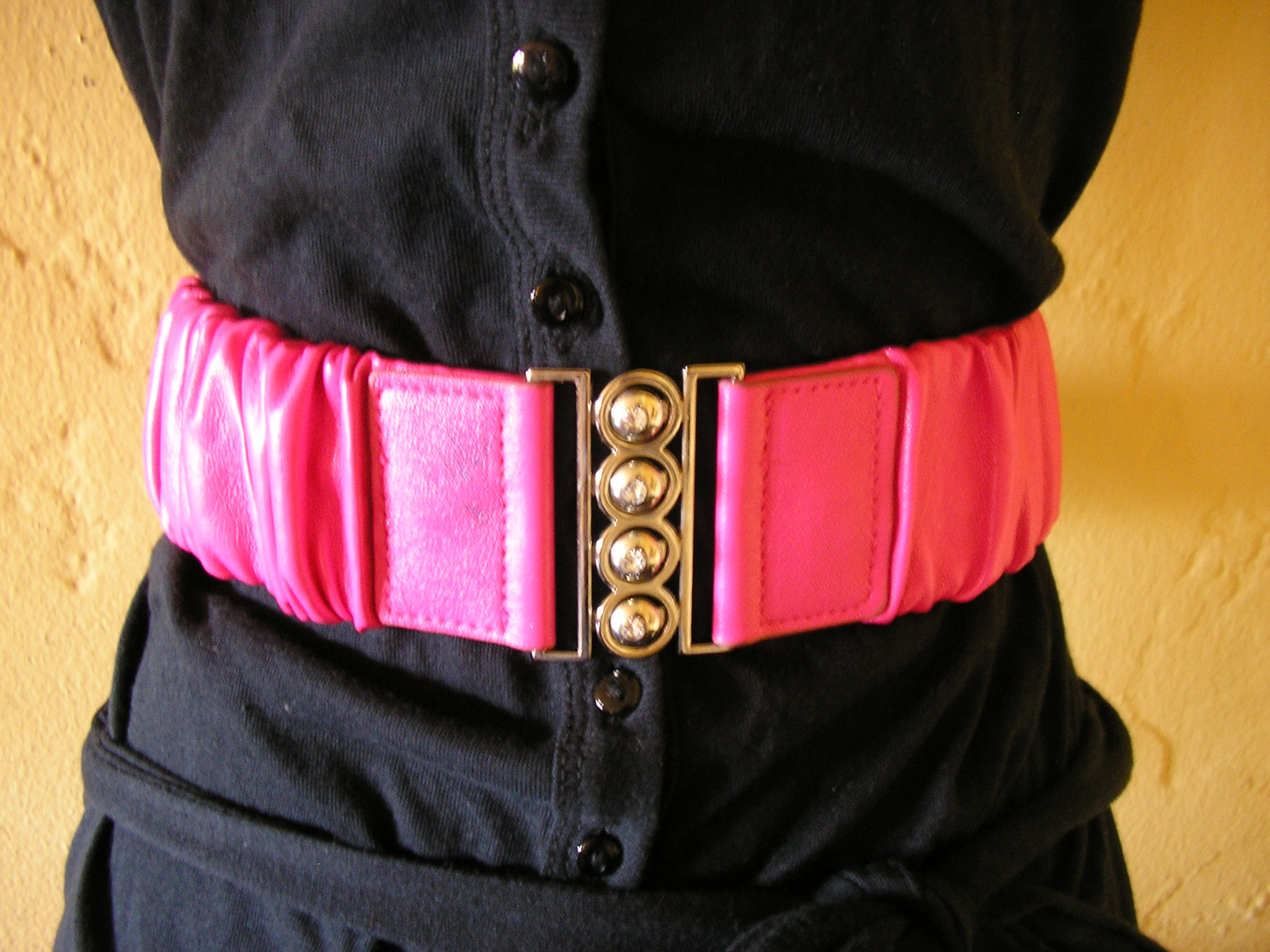 retro pink pleather vegan leather cinch rhinestone