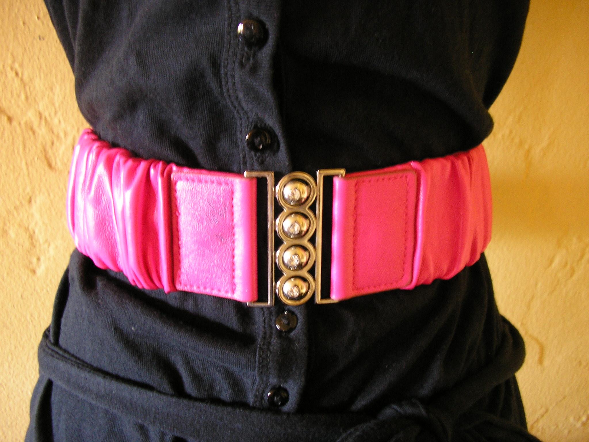 retro pink pleather vegan leather cinch rhinestone