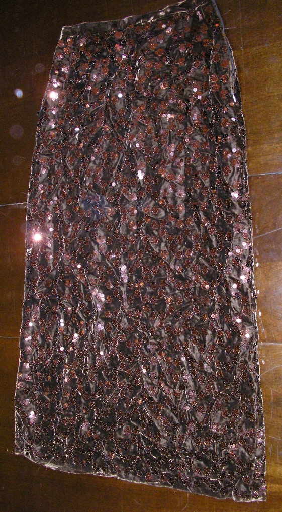 1970s full length brown sequins formal prom skirt