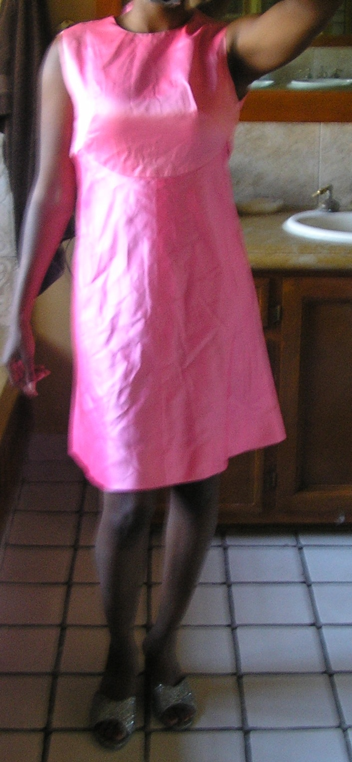 1960s pink mod prom dollybird satin dress sz xs sm