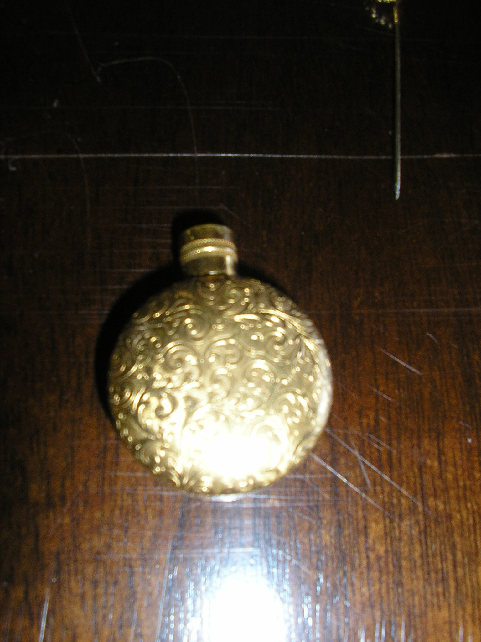 vintage brass gold filigree perfume flask holder b
