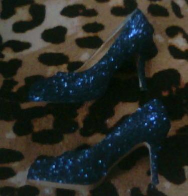 blue glitter platform pumps sz 9