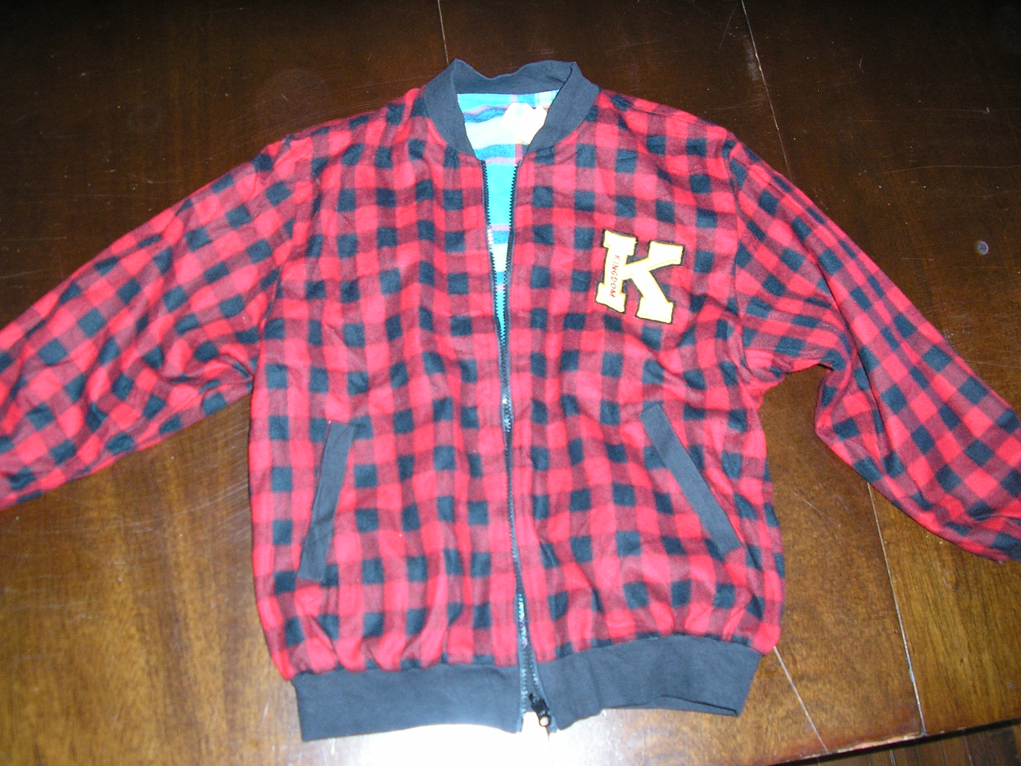 1990s boys reversible red black blue buffalo plaid