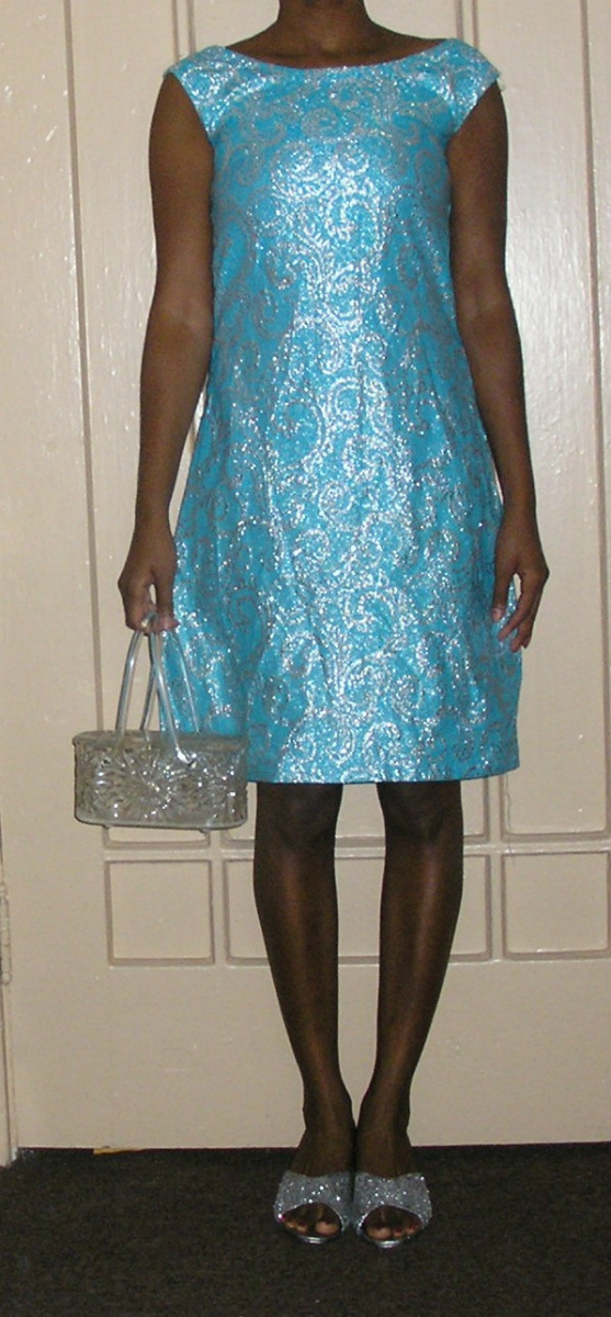 1960s rococo aqua silver brocade sack shift dress