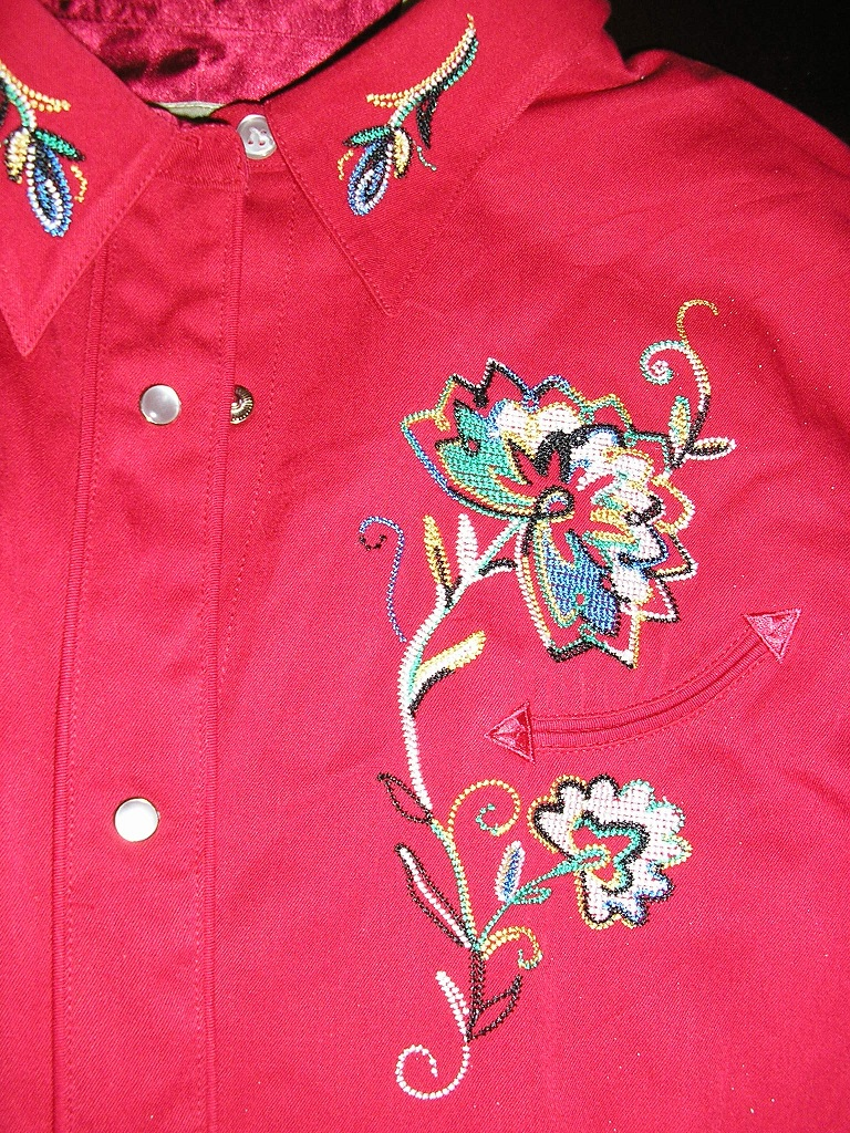 roper rodeo red emboidered western shirt sz xl
