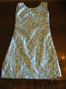 1960s rococo aqua silver brocade sack shift dress