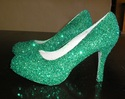 emerald green glitter platform pumps size 6.5
