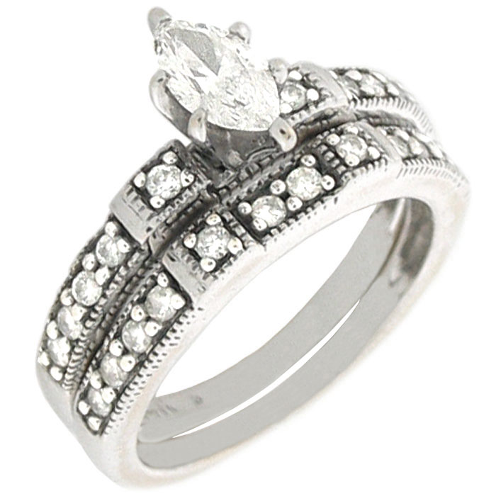 0 95ctw Marquise Diamond W Accent Engagement Ring Matching Band