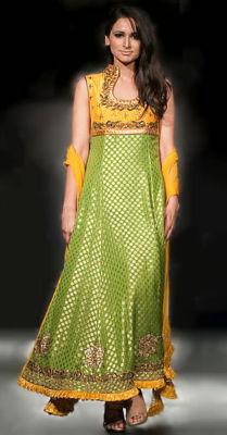 Pakistan Yellow Green Jamawar Long Shirt
