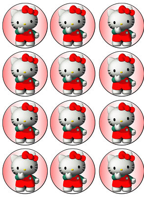 Customedibles : 12 HELLO KITTY CUPCAKE EDIBLE IMAGE TOPPER ...