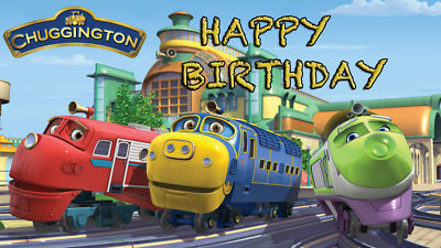 Customedibles CHUGGINGTON TRAINS EDIBLE IMAGE ICING CAKE TOPPER