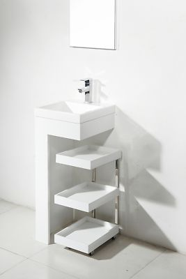 Narrow Depth Pedestal Sink : Resin Small Pedestal Sink Mobile Portable Vanity Cabinet Bathroom ...