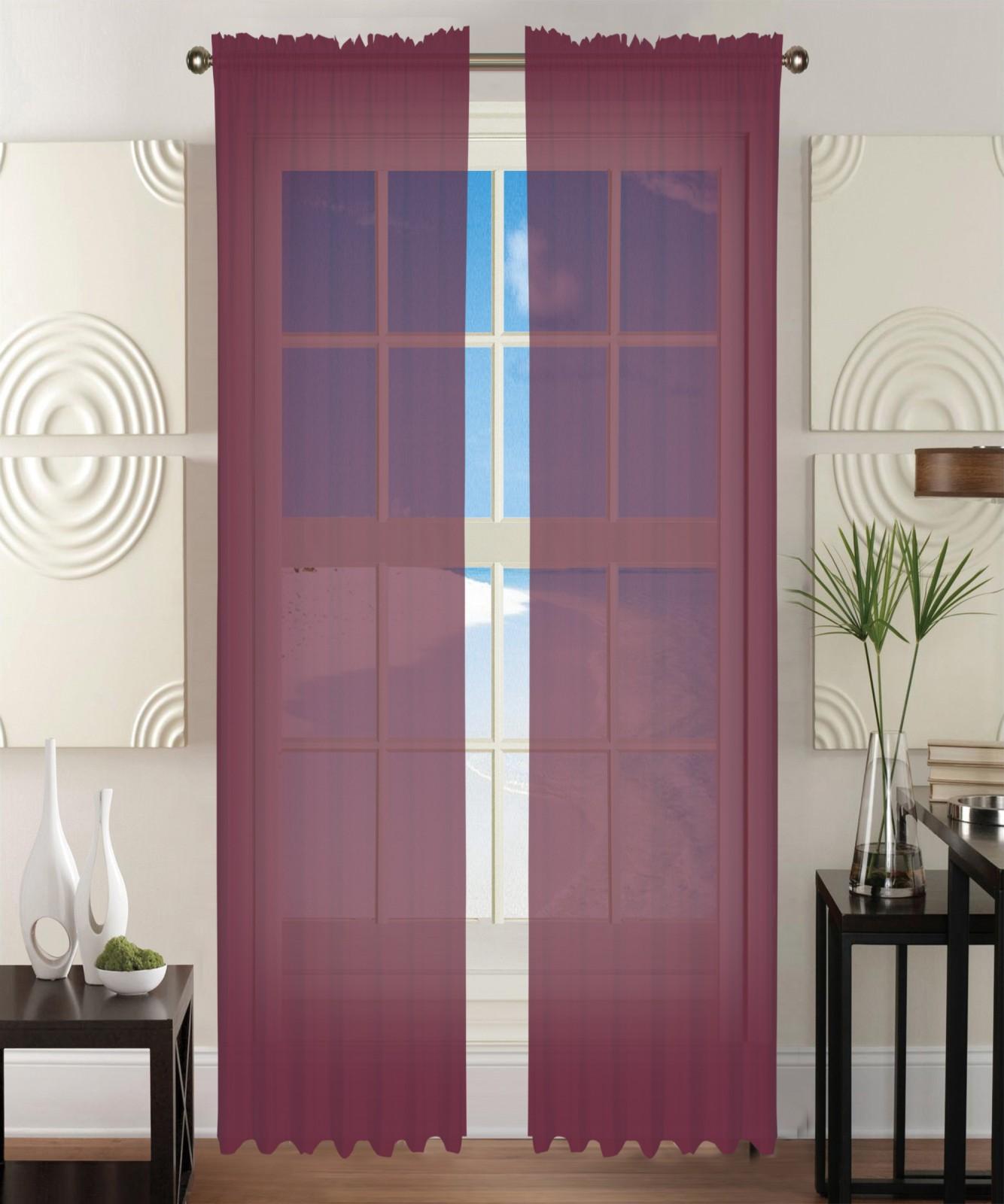 2 Piece Solid Burgundy Sheer Window Curtains/drape