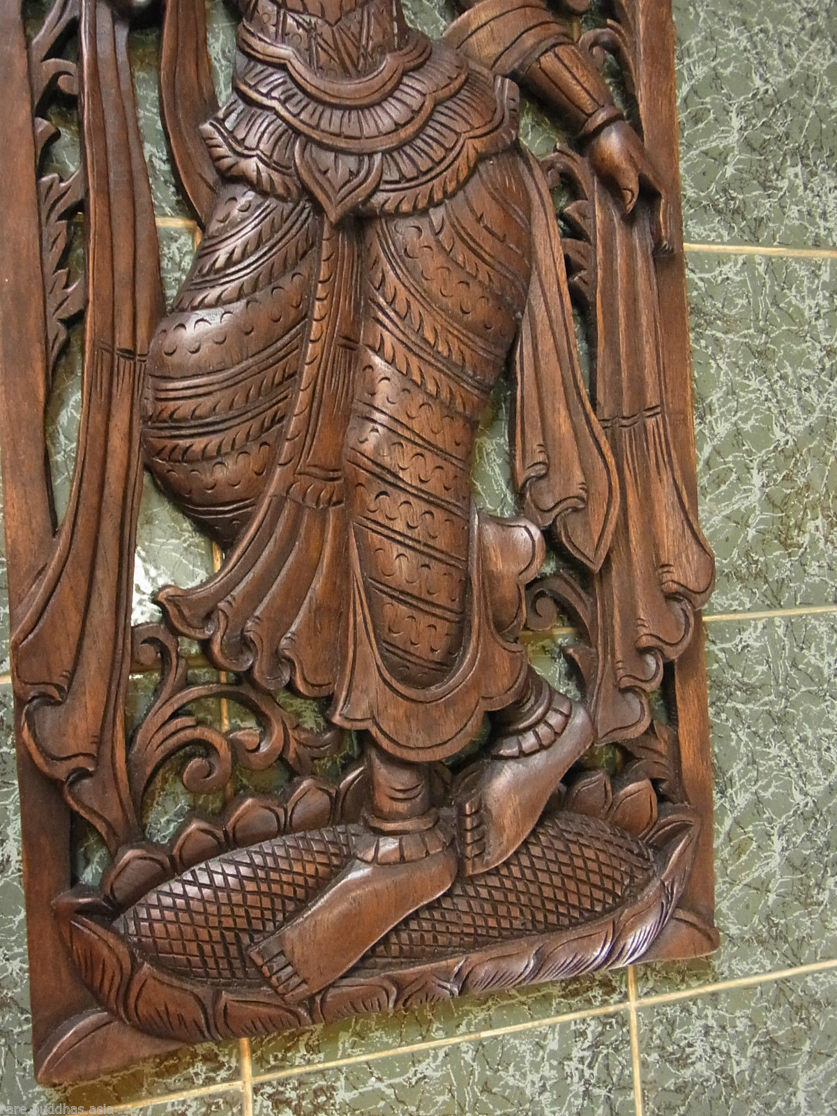 Beautiful hand carved teak wood picture of a princess cm