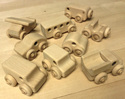 Image of CP352 Great Set of 9 Hard Maple Unit Block Vehicles in Hard Rock Maple
