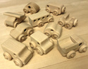 Image of CP353 Best Set of 10 Hard Maple Unit Block Vehicles in Hard Rock Maple