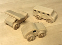 Image of CP311 Airplane, Bus, Racer Set of 3 Unit Block Vehicles in Hard Rock Maple