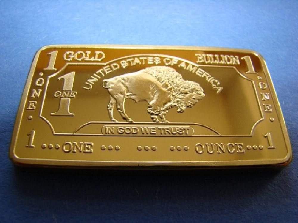 Esteemed Treasures Mint 1 Troy Ounce Gold 24k 999 American Buffalo Bar Plated In 100mills