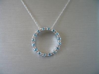 Msxbbest 10k Wg Blue Topaz Circle Diamond Pendant