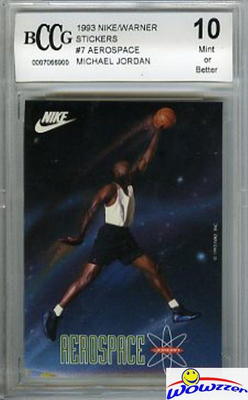 28d61a4ba83da Details about 1993 Nike Stickers #7 Michael Jordan Flying ( Aerospace)  BECKETT 10 MINT