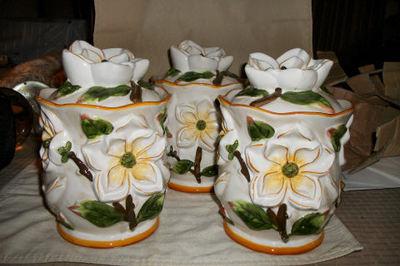 Exquisite 3pc Magnolia Canister Jar Set Handpainted