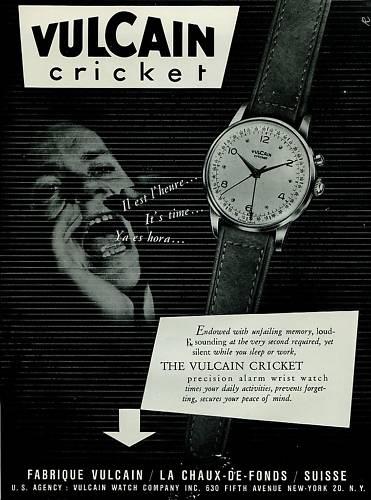 Vulcain Watch Company La Chaux-de-Fonds Switzerland 1951 Swiss Ad Vulcain Cricket