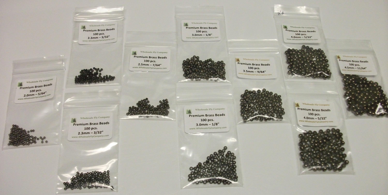 """300 piece Brass Fly Tying Beads  2.5mm 7//64/"""" Assortment"""