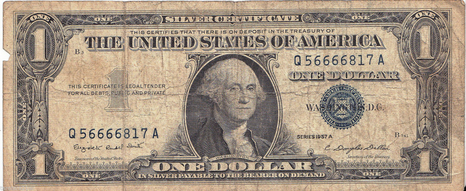 Taylors Doghouse 1957 A Silver Certificate 1 Silver Note Crisp