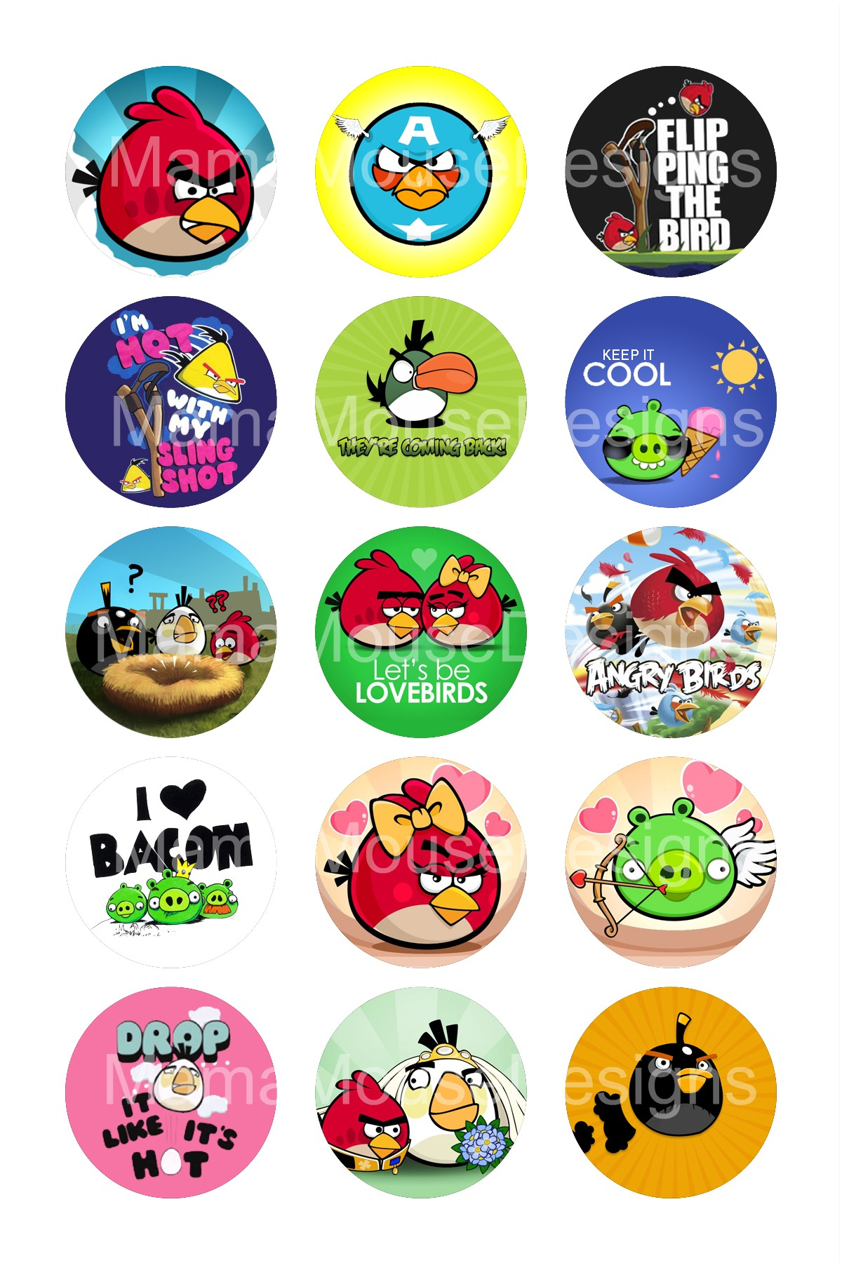 Angry birds inspired bottle cap image sheet mama mouse for Bottle cap designs