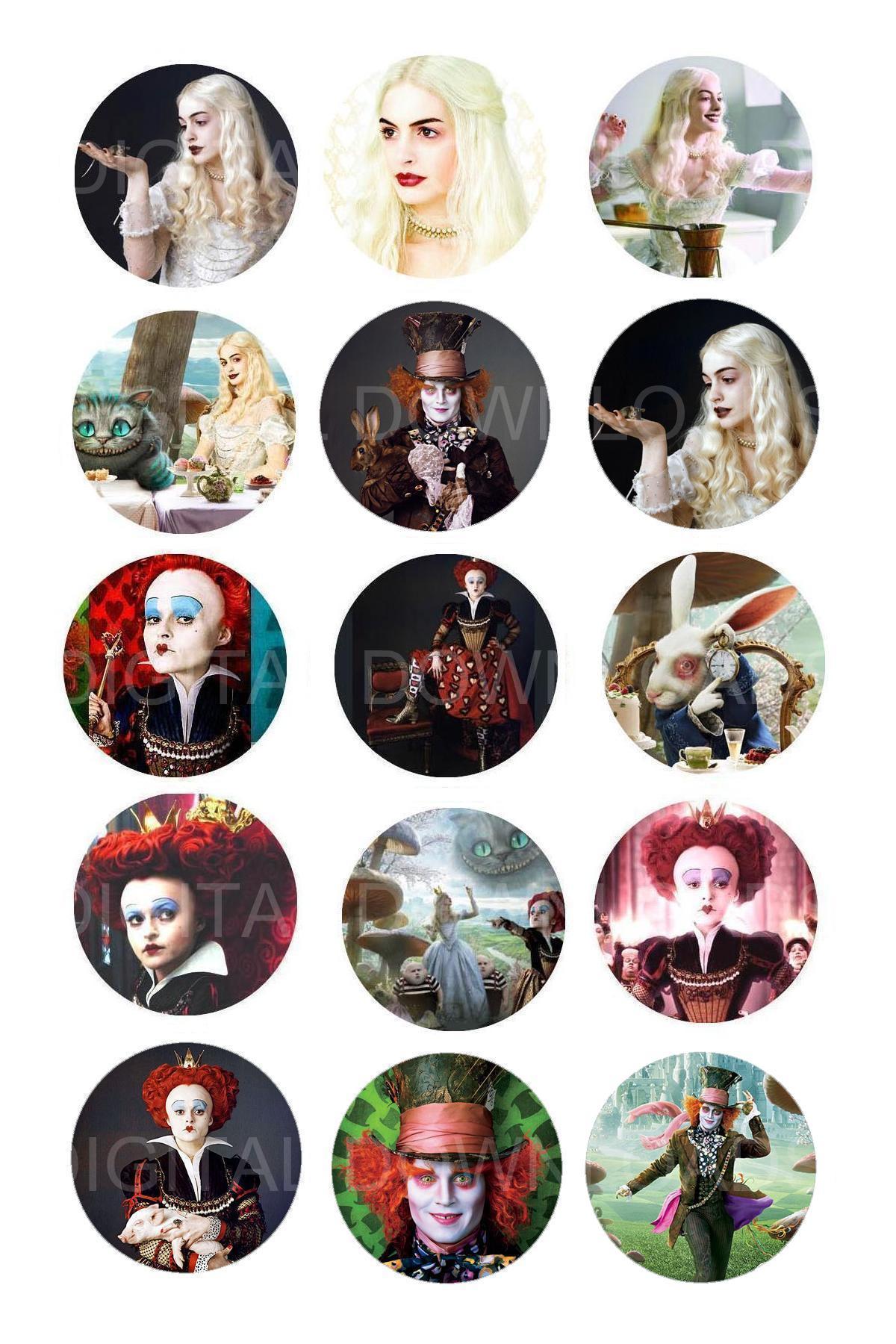 Alice in wonderland bottle cap 1 circle digital download for Bottle cap designs