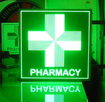 Cb2485 Green Cross Pharmacy Led Sign Outdoor Neon Effect