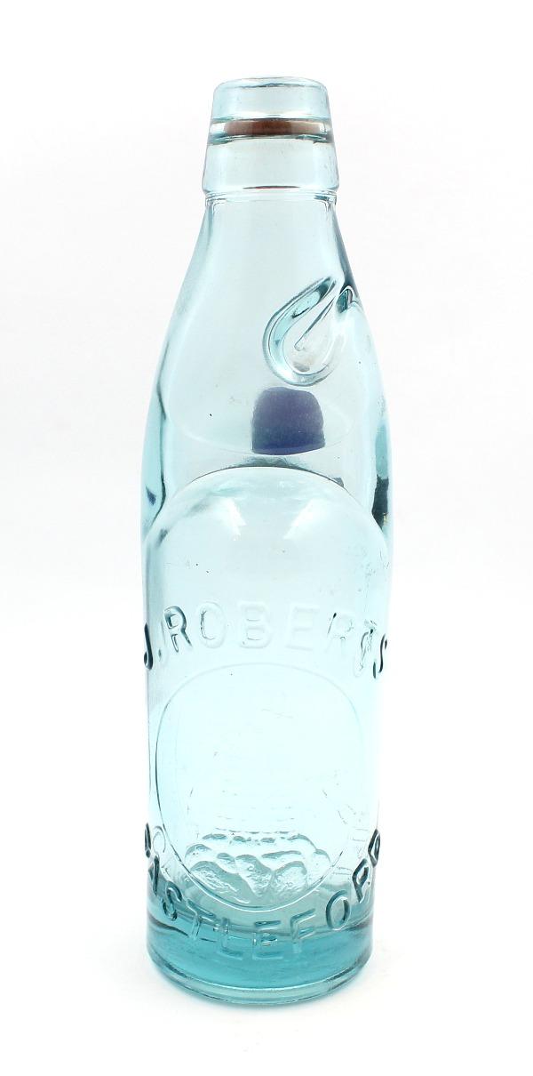 Vintage Codd Glass Bottle With Cobalt Marble Stopper J