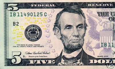 Great East Wholesale Usa 5 Dollar Bill Abraham Lincoln
