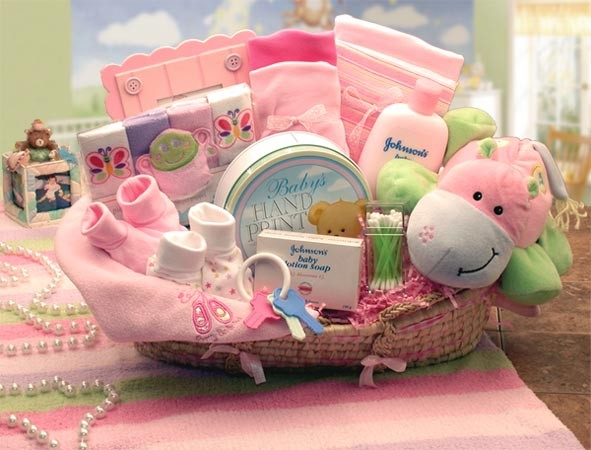 Baby Gift Pic : Gift baskets created baby girl hippo basket