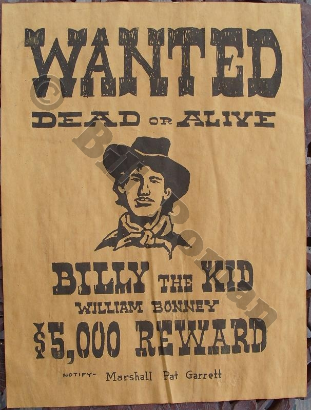 Images of Billy The Kid Wanted Poster - #SpaceHero